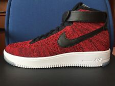 NIKE AIR FORCE 1 ULTRA FLYKNIT MID sz 11  Red Black White Yeezy Shoes 817420-600