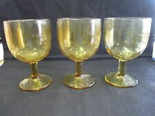 """Set of 3 Ambert Glass Water Goblet Drinking Glasses- 6"""" tall X 4"""" round"""