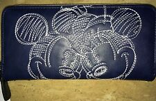 Disney Mickey Minnie Mouse Boutique Blue White Stitch Clutch Wallet Authentic