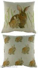 43cm Bunnies Rabbit Wrap Repeat Cushion - Evans Lichfield Rural DP909 Bunny