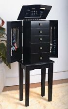 Black Jewelry Armoire Chest, Furniture Wood Bedroom Home Girls, New