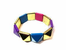 ELEGANT LADIES GOLD TRIANGULAR COLORFUL BRACELET SUMMER WEAR (ST77)