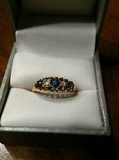 Antique 18K 18ct Solid yellow Gold Sapphire and Diamond Bridge Ring 1918 (28)
