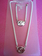 CRYSTAL INITIAL E WHITE ROPE NECKLACE AND BRACELET SET
