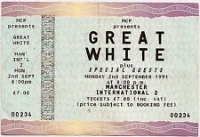 USED CONCERT TICKET - GREAT WHITE - MANCHESTER INTERNATIONAL 2nd SEPTEMBER 1991
