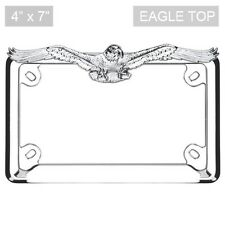 Chrome Eagle Top License Plate Frame for Motorcycle Scooter Bike & Chopper