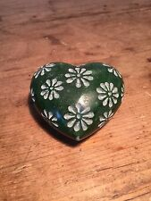 PRELOVED  DARK EMERALD GREEN STONE CUT WITH FLOWERS PAPERWEIGHT