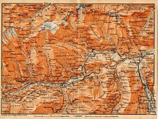 Carta geografica antica SVIZZERA Ilanz Flims Old Map Switzerland Suisse 1905