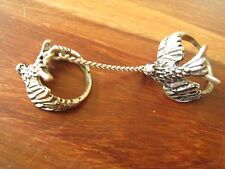 Double Finger Bird Eagle Statement Rings Joined Chain Goth Gothic