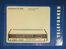 TELEFUNKEN HI FI 3520 C0NCERTINO RECEIVER OWNER MANUAL ORIGINAL FACTORY ISSUE