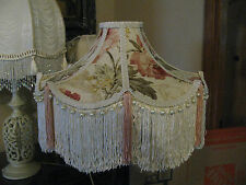 "Victorian French Large Floor Table Lamp Shade ""Bella"" Rose Fringe Tassels Look!"