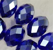 5pcs Dark Blue Crystal Faceted Gems Loose Beads 4X6mm