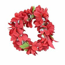Hawaiian Lei Party Luau Haku Elastic Plumeria Silk Fabric Flower Floral Red