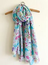 LADIES FUN BOLD WHITE MULTI FLORAL MIX PRINT OVERSIZED SCARF WRAP COVER UP