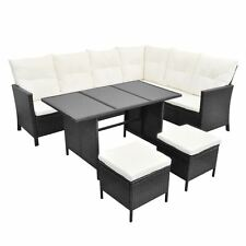 8 Person Outdoor Patio Rattan Wicker Furniture Set Lounge Sofa Stool Table Black