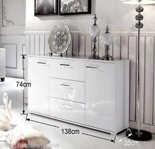 White 2 Door 3 Drawer Buffet Cabinet combines generous storage space