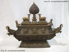 Tibet Purple Bronze Dragon Deer 8 treasures Buddha Buddhism Sambo Classic censer