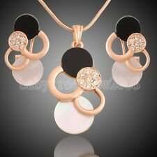 Hot Selling Shell 18K Rose Gold GP Swarovski Crystal Cocktail Jewelry Set 51