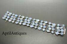 Vintage Vendome teardrop moonstone rhinestone glass large  bracelet