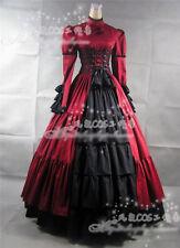 Ladies Victorian Lolita Gothic Palace  Princess Slim Longuette Dress 3 Colors