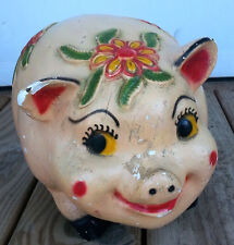 Vintage Chalkware Pig Piggy Bank Carnival Art Pottery Pink Red Mexico Large 14""