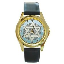 Star of David on Gold Watch w/ Citizen Works & Leather Bands