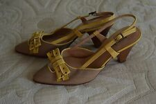 Anthropologie Nanette Lepore Yellow Tan Burlap Slingback Heel Excellent 7 M Work