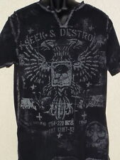 Affliction Live Fast Mens Embellished/Graphic Tee Black Phoenix Seek & Destroy L