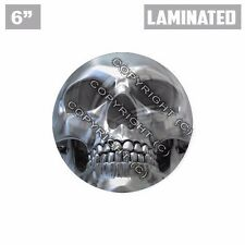"1 Custom X LARGE Laminated Glossy 6"" 3M Premium Decal Sticker CHROME SKULL  FACE"