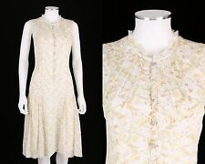 GARY GRAHAM WHITE YELLOW FLORAL PRINT COTTON SLEEVELESS BUTTON FRONT DRESS SZ 2