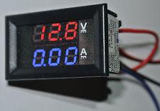 LED Panel Volt+Amperemeter 100V 100A DC 2x3 Stellig Kalibrierbar Auto Range