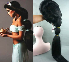 Up to date Anime Aladdin Jasmine princess Long Black Anime Wig Cosplay wigs