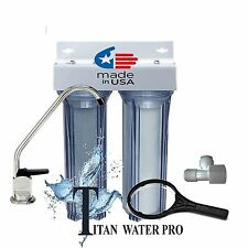 Under Sink Water Filter 2 Stage Sediment Filter & Carbon Filter CLEAR HOUSINGS