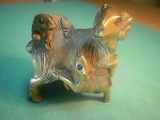 Hand carved wood netsuke ram goat with 2 kids, vintage / antique style figurine