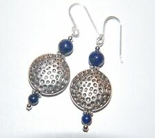 LAPIS Lazuli Gemstone & Tibetan Textured Coin Sterling Silver Earrings ~ Tribal