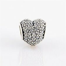 CRYSTAL PAVE HEART .925 Sterling Silver European Charm Bead