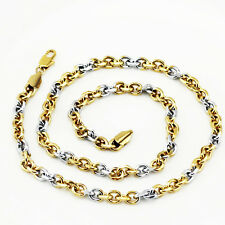 Mens Jewellery 18 k Gold Plated Two Colours Necklace for Men Chain 6 mm N303