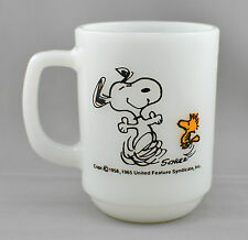 Fire King Snoopy Mug At Times Life Is Pure Joy Anchor Hocking Milk Glass Schulz