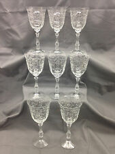 Set of 8 Fostoria #6016 Wilma Water Goblets w/ #327 Navarre Etching {DD312}