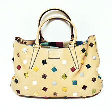 Authentic FENDI B FAB Multicolor Studded Camel Leather Shoulder Bag SATCHEL HTF