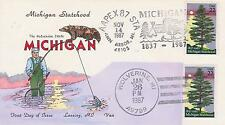 VAN NATTA HAND PAINTED FIRST DAY COVER FDC-1987 MICHIGAN STATEHOOD DUAL CANCEL