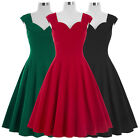 Women Vintage 50s 60s Retro Pinup Swing Dress Red Prom Ball Evening Party Dress