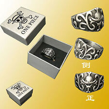 New Anime One Piece Ace Logo Metal Finger Ring Cosplay Gift & Box 19MM Fashion