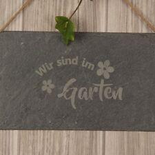 """Schieferschild """"Wir sind im Garten"""" Geschenkidee Deko Garten Schild"""