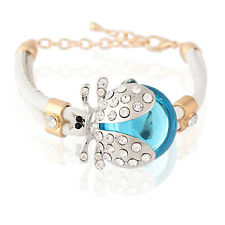 White PU Leather & Blue Crystal Ladybird Rhinestones Wrap Charm Bracelet BB76