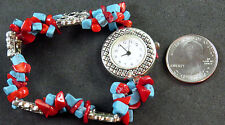 NWOT Trendz Silver Watch, GenuineTurquoise and Coral Chips Bracelet Stretch Band