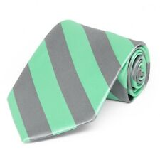 Bright Mint and Gray Diagonally Striped Tie: Great Color Combination