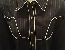 Scully Western Tailored Diamond Pearl Snap Black w/ White Pinstripe & Piping XL
