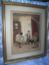 1800'S French Artist THEOPHILE E. DUVERGER Framed PAINTING of 3 BOYS at PLAY