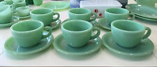 6 Sets Fire King Jadite G299 Restaurant Ware RW Coffee Cups & Saucers ~ Jade-ite